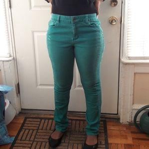 DKNY Size 10 green skinny jeans